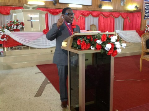 The Presiding Bishop Leading the Devotion and Ministerial Session